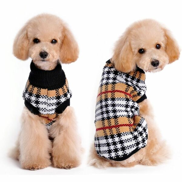 Small Toy Dog Clothes Pet Winter Plaid Sweater Puppy Clothing Warm Apparel Coat $14.00