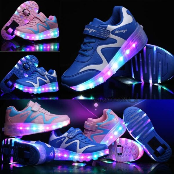 Kids Boys Girls LED Light Up Roller Skate Single/Double Wheel Shoes Large Size