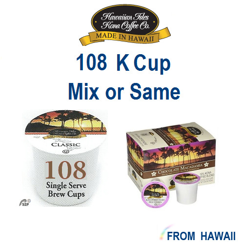 Hawaiian Isles Kona Coffee Co 108 K-Cups Single Serve Keurig* MIXSAME 4 Flavors