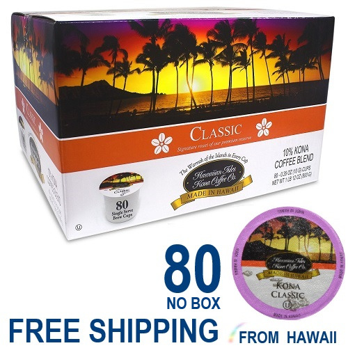 Hawaiian Isles Kona Coffee Co. CLASSIC MEDIUM  80 K-Cups Single Serve Keurig *