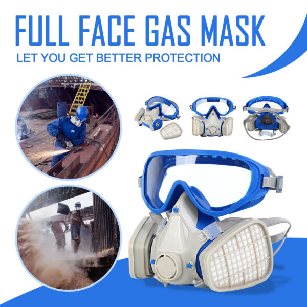 Double Filter Painting Spraying Respirator Facepiece Chemical Full Face Gas Mask $18.17