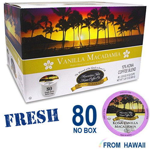 Hawaiian Isles Kona Coffee Co. VANILLA MACADAMIA  80 K-Cups Single Serve Keurig*