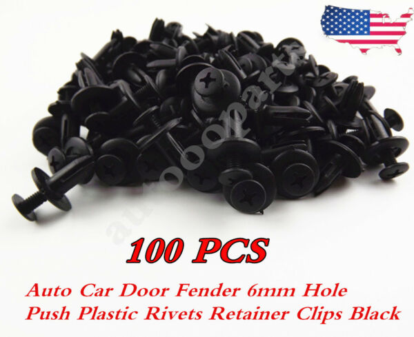 100pcs Auto Car Door Fender 6mm Hole Push Plastic Rivets Retainer Clips Black