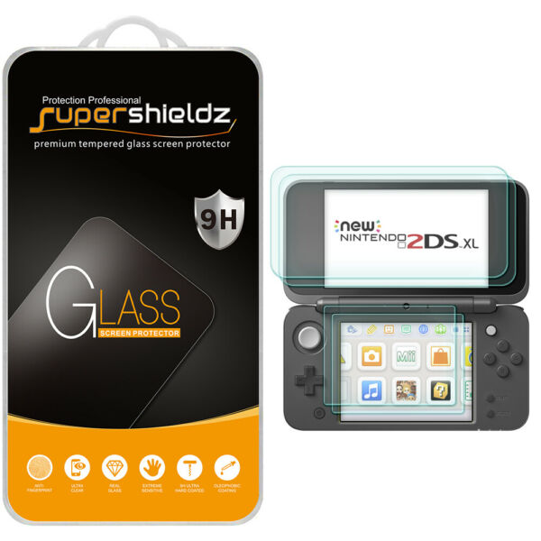 Tempered Glass Screen Protector 2xTop Glass 2xBottom PET for Nintendo 2DS XL $7.49