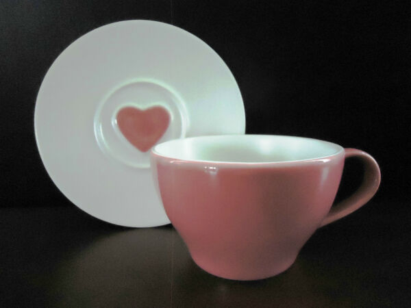 Starbucks Pink Coffee Cup and Heart Embellished Saucer