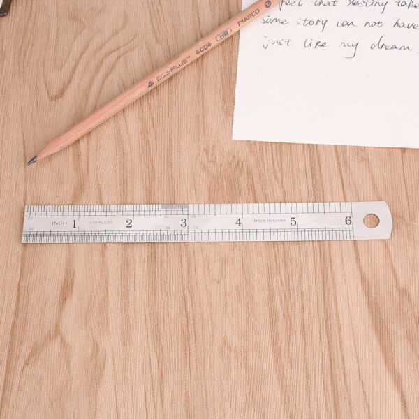 6 inch / 15 cm Stainless Steel Metal Straight Ruler Precision Scale Double Sided
