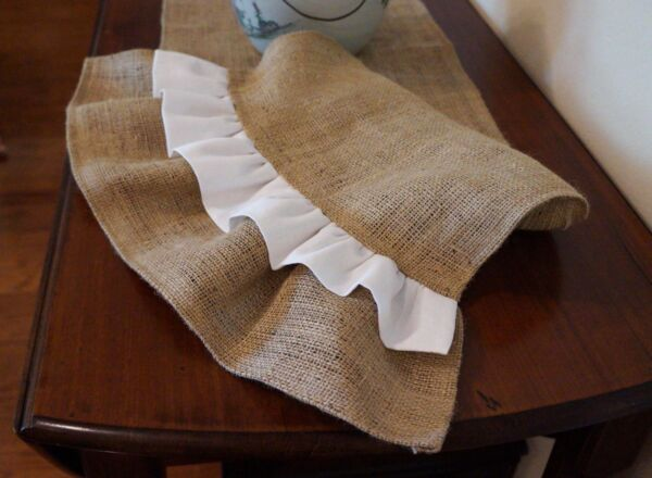 Natural Burlap Table Runner with White Ruffles Various Sizes FREE SHIP