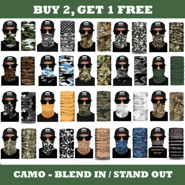 FACE MASK Camo Sun Shield Neck Gaiter Balaclava Bandana Washable Breathable UV