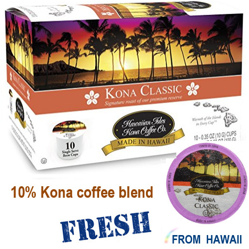 Hawaiian Isles Kona Coffee Co CLASSIC Medium 10 K-Cups Single Serve Brew Keurig*