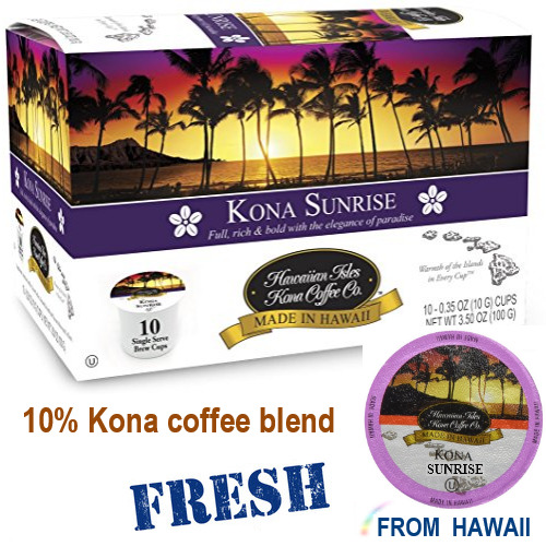 Hawaiian Isles Kona Coffee SUNRISE Dark Roast K-Cups Single Serve Brew Keurig*