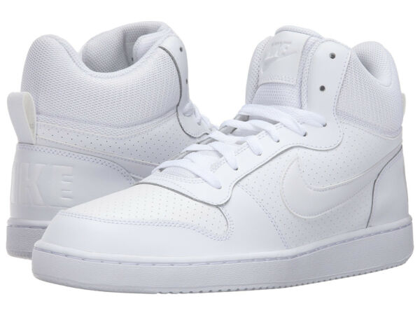 Nike COURT BOROUGH MID Mens White 111 Leather Lace Up Athletic High Top Shoes