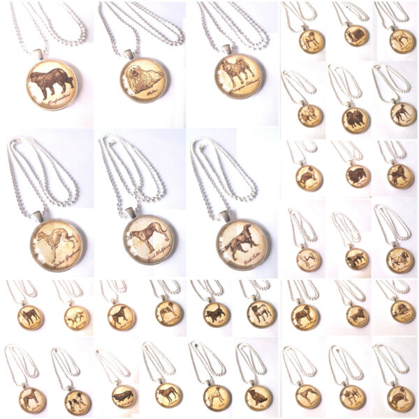 114 Silver Dog Necklaces Glass Casing Bulk Pricing $599.00