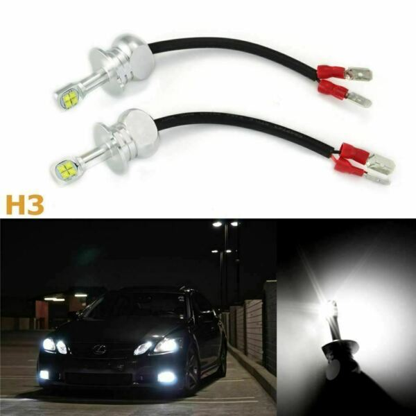 2x High Power White H3 LED Bulbs 80W  DRL Daytime Running Fog Lights