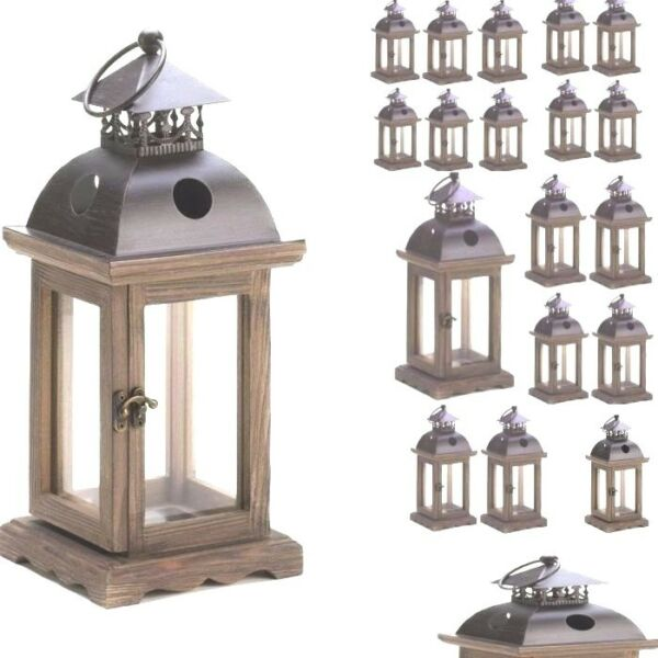 Lot of 20 Rustic Wood Candle Lantern Candleholder Wedding Centerpieces