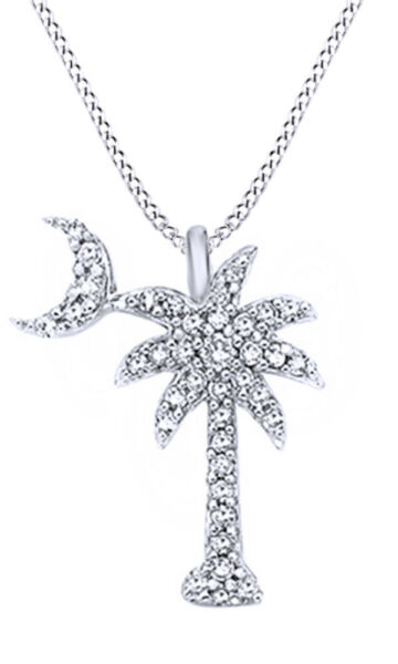16 Ct Real Diamond 14K White Gold Crescent Moon Over Palm Tree Pendant Necklace