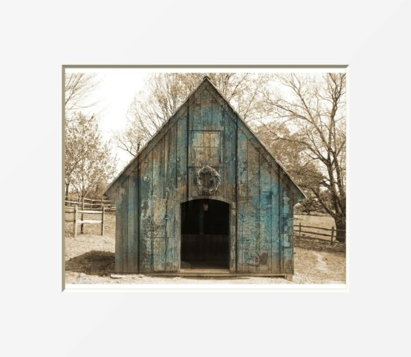 Rustic Modern Farmhouse Decor, Barn Wall Art, Country Home Decor Matted Picture
