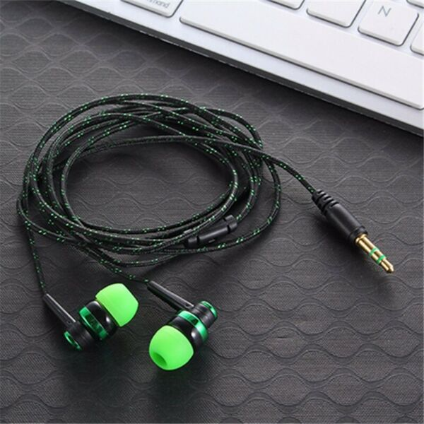 In-Ear Earbuds Lime Green on Black Stereo Tangle Free Braided Cord Quality Sound
