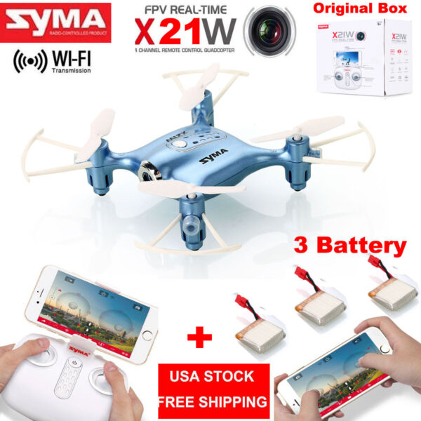 SYMA X21W WiFi FPV 2.4Ghz Mini RC Quadcopter Drone w/HD Cam High Hold +3 Battery