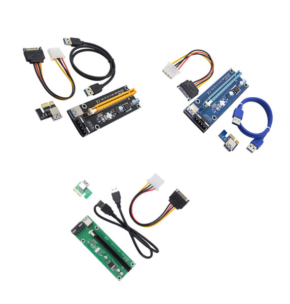 USB3.0 PCI-E Express 1x to16x Extender Riser Card Adapter SATA 15PIN Power cable