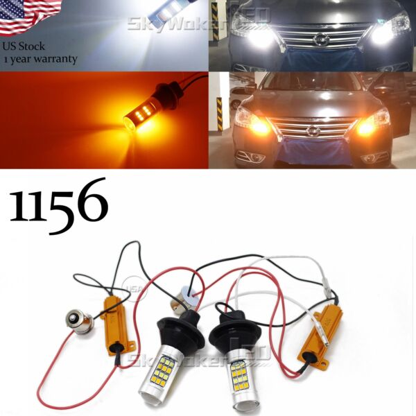1156 7506 Switchback LED Bulbs For Daytime Running LightsTurn Signals 42-SMD