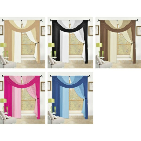 Bella 4 Pc Window in a Bag Set Complete Curtain Drape Valance Window Treatment