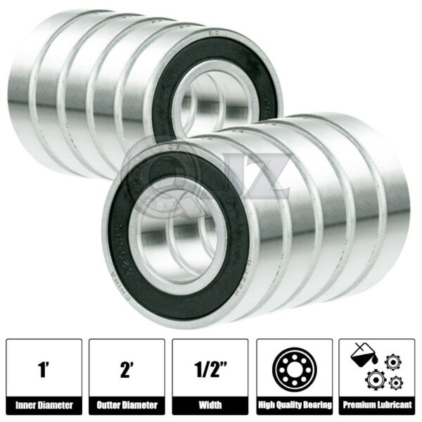 10x SR16 2RS 1in x 2in x 1 2in SR16RS Stainless inch Steel Ball Bearing New