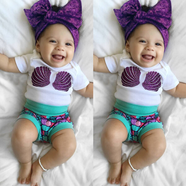 US Newborn Baby Girls Romper Tops+Shorts Pants Mermaid 2PCS Outfits Clothes Set