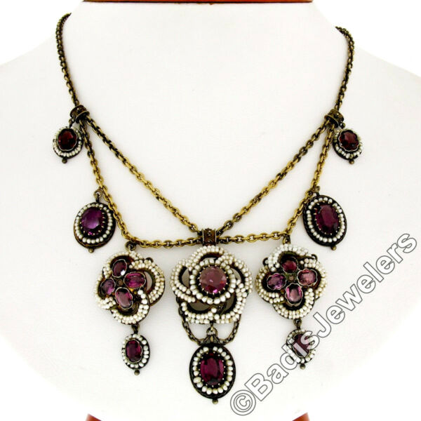 Antique 14k Gold Rose De France Amethyst Seed Pearl Festoon Chandelier Necklace