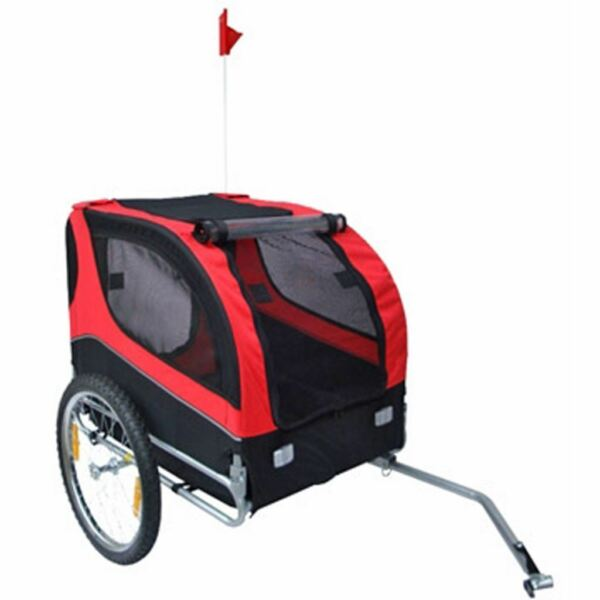 vidaXL Dog Bike Trailer Foldable Lassie Red Bicycle Pet Animals Wagon Carrier