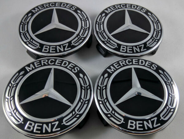 4 PC SET Mercedes Benz Wheel Center Caps Emblem Black and Chrome Hubcaps 75MM
