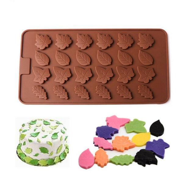 24 Cavity Tree Leaves Silicone Mold Cake Decorating Candy Chocolate Baking Mould