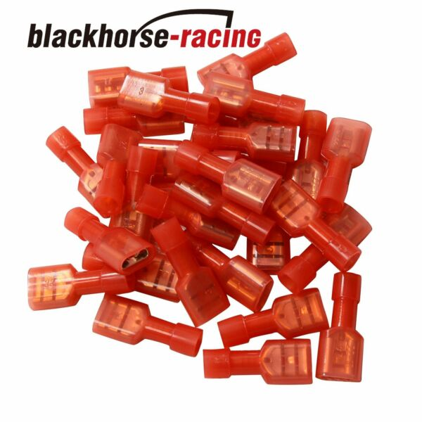 100Pc Fully Insulated Red Female Electrical Spade Crimp Connector Terminals 1/4