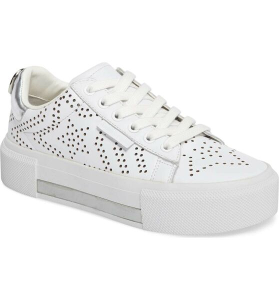 KENDALL + KYLIE Tyler 7 Star Perforated White Leather Platform Sneakers NEW