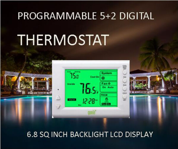 Digital Thermostat 5+2 Day Programmable – Large Backlit LCD 1H1C Dual Power