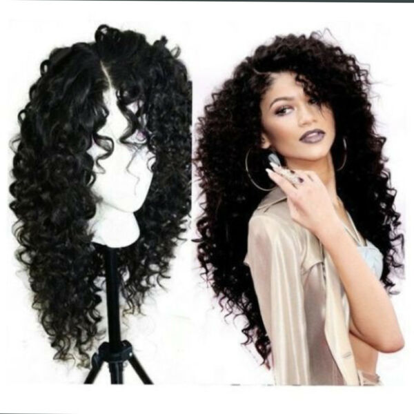 Black Kinky Curly Wig Synthetic Lace Front Wig Japan Fiber Heavy Density 24 Inch