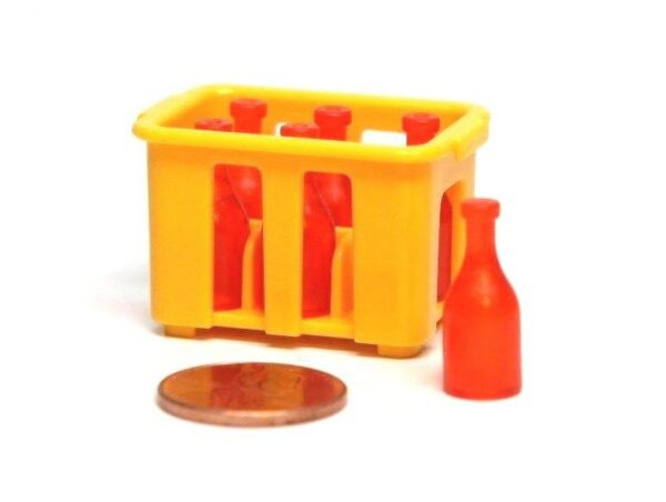 Playmobil Grocery Dollhouse Food 6 Red Soda Wine Liquor Bottle Yellow Crate