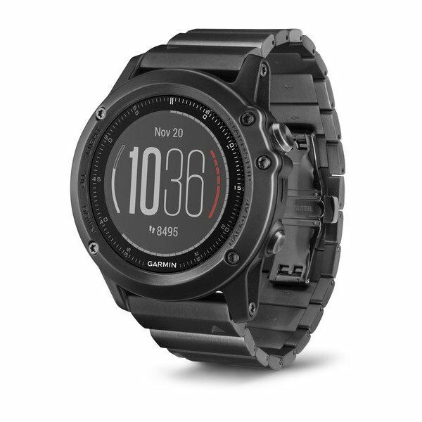 Garmin fenix 3 HR Sapphire Gray GPS Watch w/ Stainless Steel Band 010-01338-7C