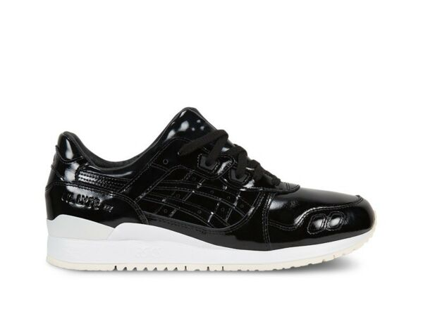 Men's Asics Gel Lyte III Black Patent Leather Athletic Fashion Sneaker H7H1L9090