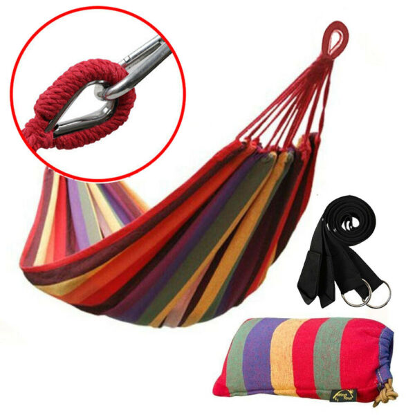 Cotton Rope Hanging Hammock Swing Camping Canvas Bed w Heavy Duty Strap amp; Hook $19.98