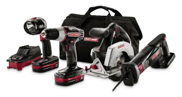 CRAFTSMAN 19.2V Li CORDLESS Drill, Reciprocating Saw, Trim Saw, Work Light SET