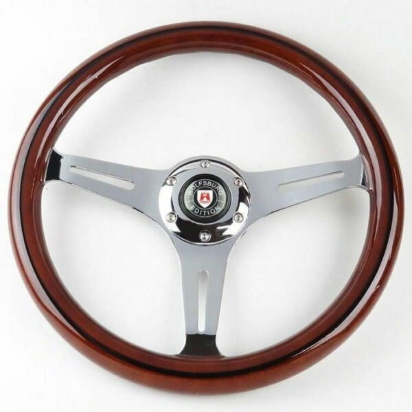 CLASSIC MAHOGANY WOOD GRAIN BLACK TRIM STEERING WHEEL W WOLFSBURG HORN BUTTON