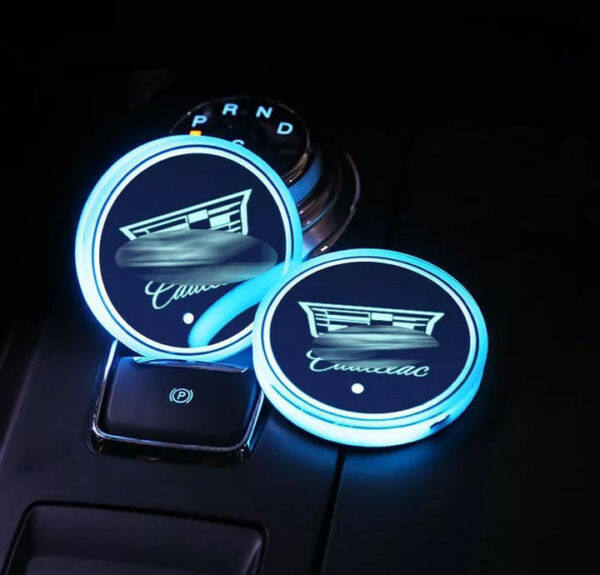 2PCS LED Car Cup Holder Pad Mat for Cadillac Auto Atmosphere Lights Colorful