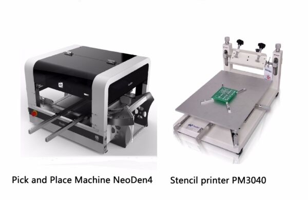 SMT Line Pick and Place Machine Vision System NeoDen4 + a Stencil Printer PM3040