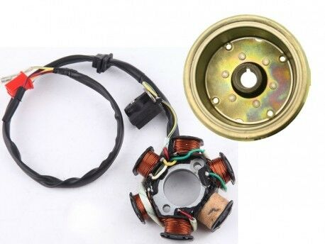 6 COIL AC STATOR WITH FLYWHEEL FOR GY6 125cc amp; 150cc MOTORS $30.03