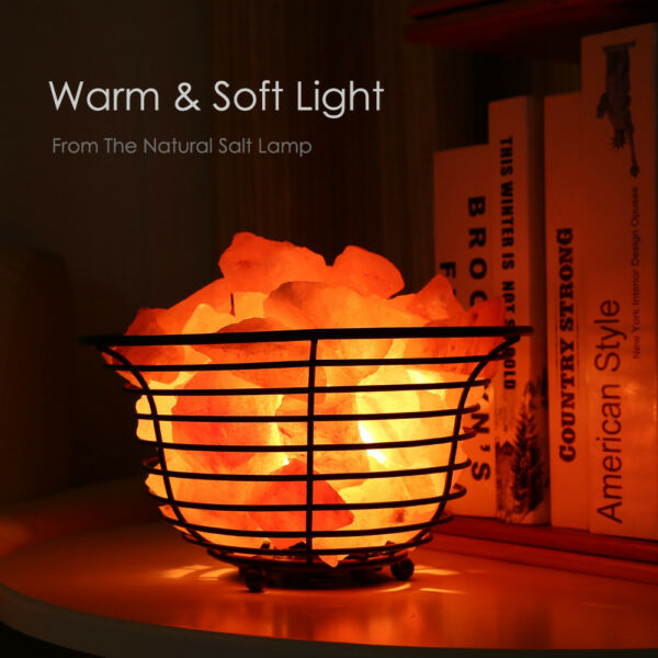 SMAGREHO Natural Air Purifying Himalayan Salt Metal Basket Bowl Lamp