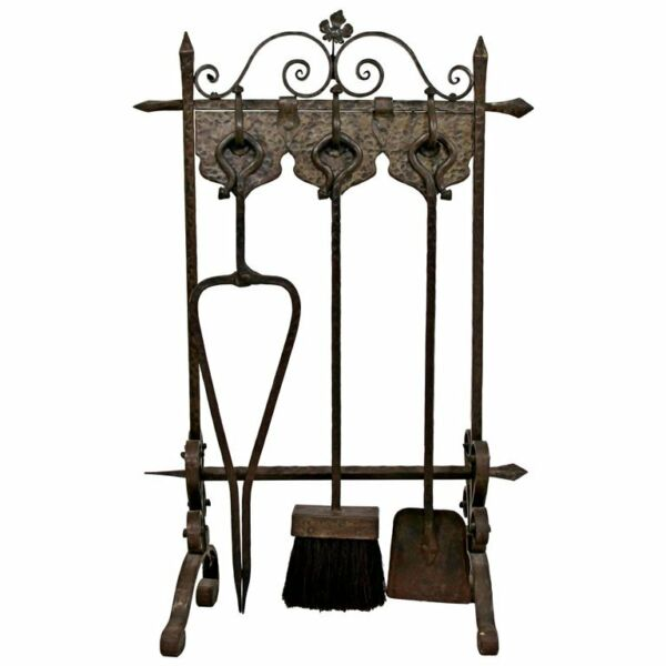 French Art Deco Hand Forged Wrought Iron Fireplace Tool Set