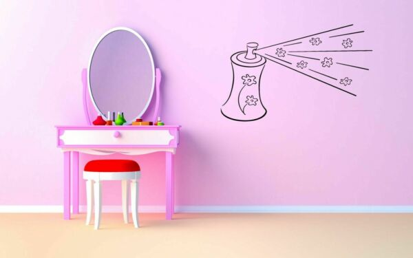 Wall Sticker Room Decal Hair Spray Cosmetics Woman Beauty Salon Flowers bo2545