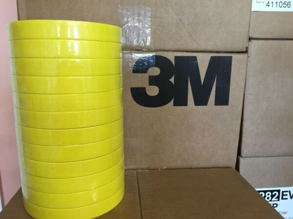 3M 06652 3/4 YELLOW  REFINISH MASKING TAPE SLEEVE (12 ROLLS) 6652