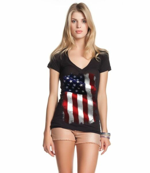Large American Flag Patriotic Women's V-Neck T-shirt 4th of July USA Flag Tee $9.95