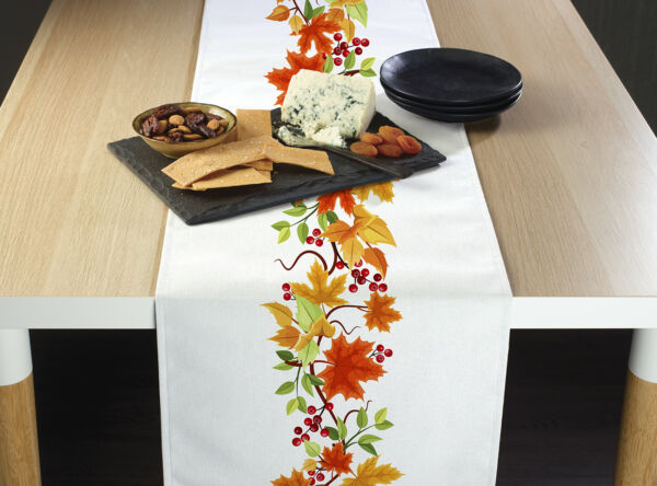 Autumn Leaves Border Table Runners 12quot; x 72quot; or 14quot; x 108quot;